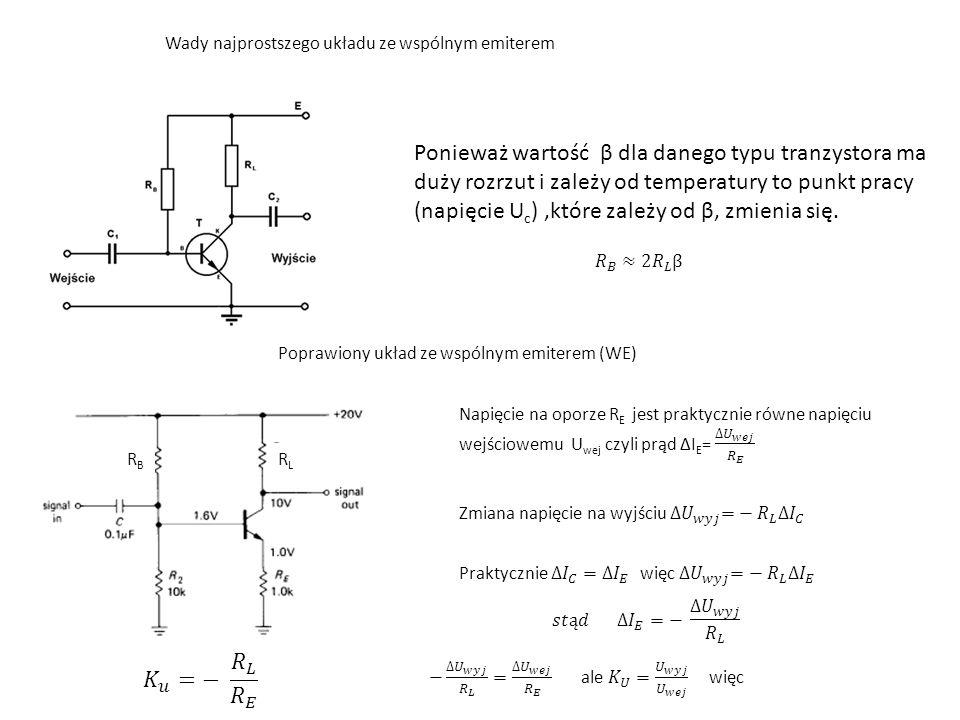 Wady najprostszego układu ze wspólnym emiterem Ponieważ wartość β dla danego typu tranzystora ma duży rozrzut i zależy od temperatury to punkt pracy (napięcie U c ),które zależy od β, zmienia się.