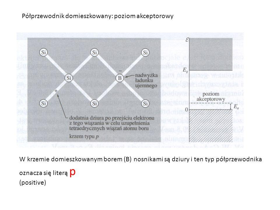 Półprzewodnik domieszkowany: poziom akceptorowy W krzemie domieszkowanym borem (B) nosnikami są dziury i ten typ półprzewodnika oznacza się literą p (positive)
