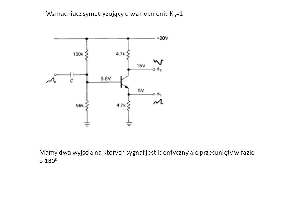 Wzmacniacz symetryzujący o wzmocnieniu K u =1 Mamy dwa wyjścia na których sygnał jest identyczny ale przesunięty w fazie o 180 0