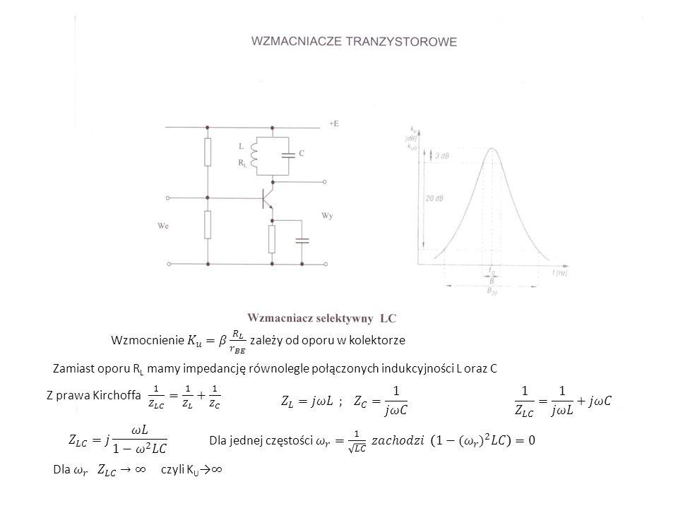 Zamiast oporu R L mamy impedancję równolegle połączonych indukcyjności L oraz C