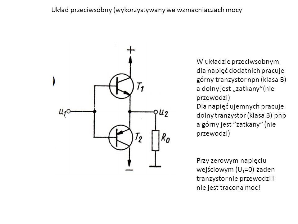 """Układ przeciwsobny (wykorzystywany we wzmacniaczach mocy W układzie przeciwsobnym dla napięć dodatnich pracuje górny tranzystor npn (klasa B) a dolny jest """"zatkany (nie przewodzi) Dla napięć ujemnych pracuje dolny tranzystor (klasa B) pnp a górny jest zatkany (nie przewodzi) Przy zerowym napięciu wejściowym (U 1 =0) żaden tranzystor nie przewodzi i nie jest tracona moc!"""