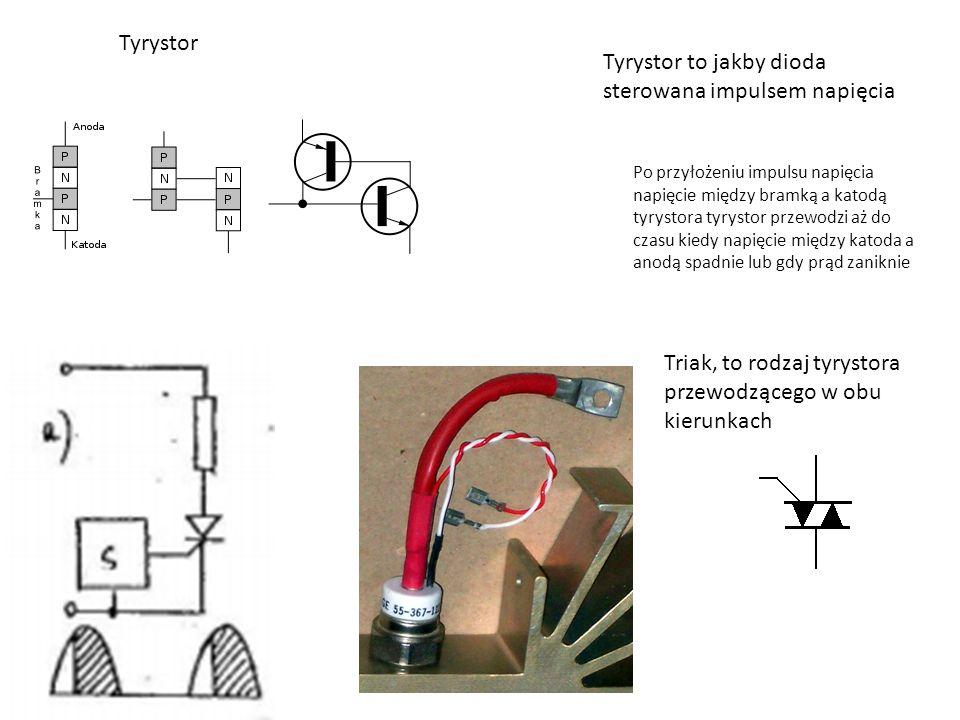 Tyrystor to jakby dioda sterowana impulsem napięcia Po przyłożeniu impulsu napięcia napięcie między bramką a katodą tyrystora tyrystor przewodzi aż do czasu kiedy napięcie między katoda a anodą spadnie lub gdy prąd zaniknie Tyrystor Triak, to rodzaj tyrystora przewodzącego w obu kierunkach