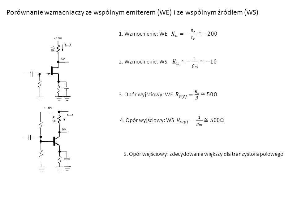Porównanie wzmacniaczy ze wspólnym emiterem (WE) i ze wspólnym źródłem (WS) 5.