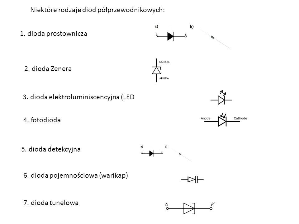 Niektóre rodzaje diod półprzewodnikowych: 1.dioda prostownicza 2.