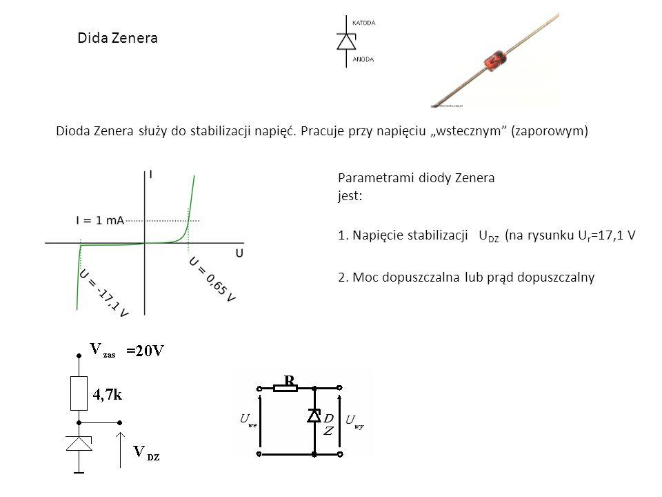 Dida Zenera Dioda Zenera służy do stabilizacji napięć.