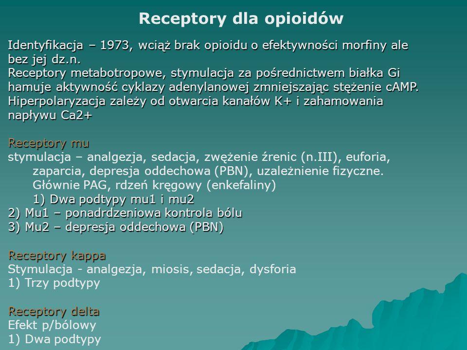 Receptory dla opioidów Identyfikacja – 1973, wciąż brak opioidu o efektywności morfiny ale bez jej dz.n. Receptory metabotropowe, stymulacja za pośred