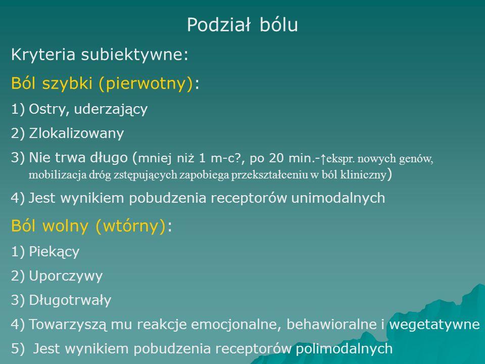 Podział bólu Kryteria subiektywne: Ból szybki (pierwotny): 1)Ostry, uderzający 2)Zlokalizowany 3)Nie trwa długo ( mniej niż 1 m-c?, po 20 min.- ↑ekspr