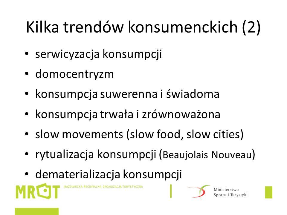 Kilka trendów konsumenckich (2) serwicyzacja konsumpcji domocentryzm konsumpcja suwerenna i świadoma konsumpcja trwała i zrównoważona slow movements (slow food, slow cities) rytualizacja konsumpcji ( Beaujolais Nouveau ) dematerializacja konsumpcji