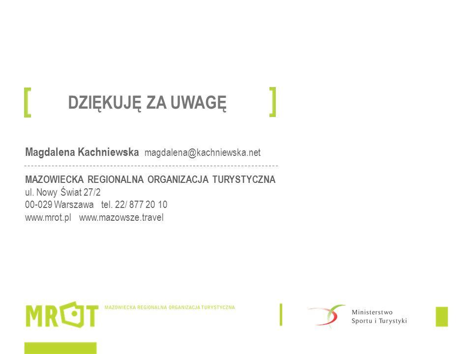 Magdalena Kachniewska magdalena@kachniewska.net MAZOWIECKA REGIONALNA ORGANIZACJA TURYSTYCZNA ul.