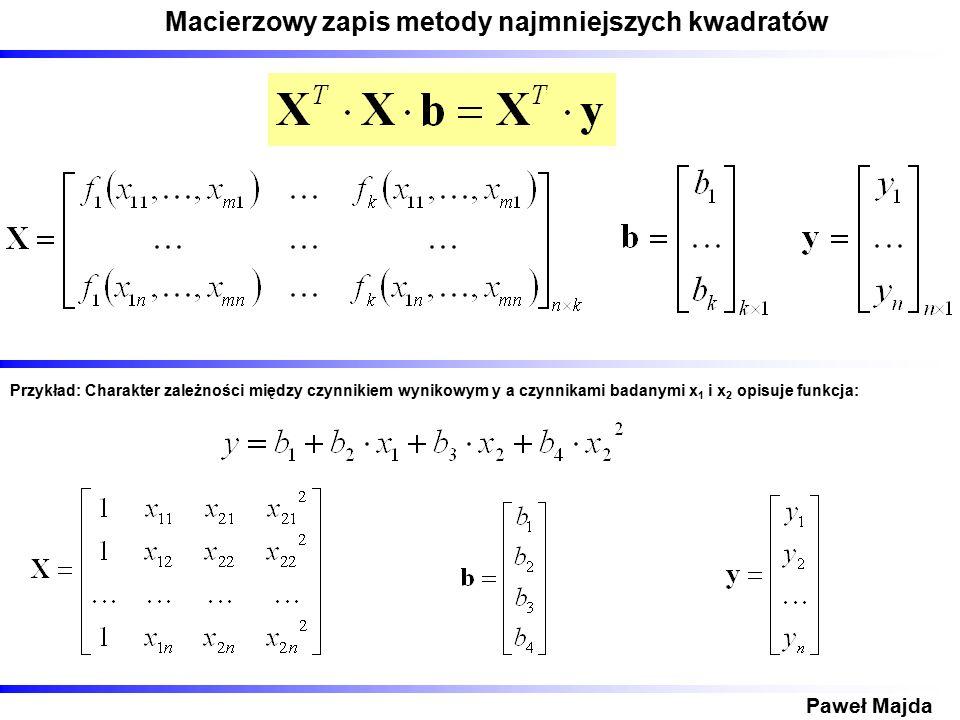 Macierzowy zapis metody najmniejszych kwadratów Paweł Majda Przykład: Charakter zależności między czynnikiem wynikowym y a czynnikami badanymi x 1 i x