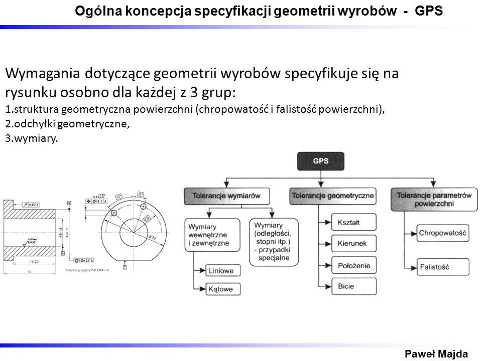 Ogólna koncepcja specyfikacji geometrii wyrobów - GPS Paweł Majda Wymagania dotyczące geometrii wyrobów specyfikuje się na rysunku osobno dla każdej z