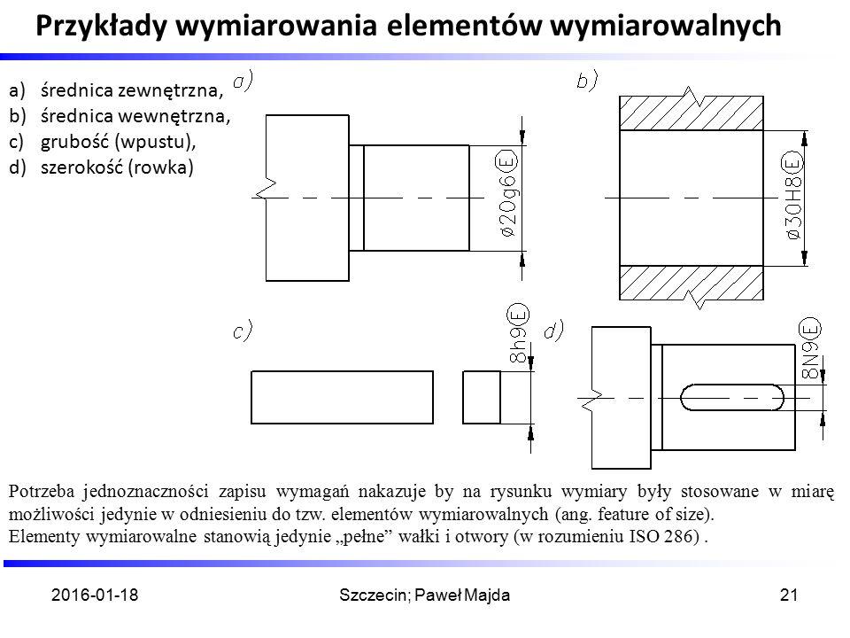 Przykłady wymiarowania elementów wymiarowalnych 2016-01-18Szczecin; Paweł Majda21 Potrzeba jednoznaczności zapisu wymagań nakazuje by na rysunku wymia