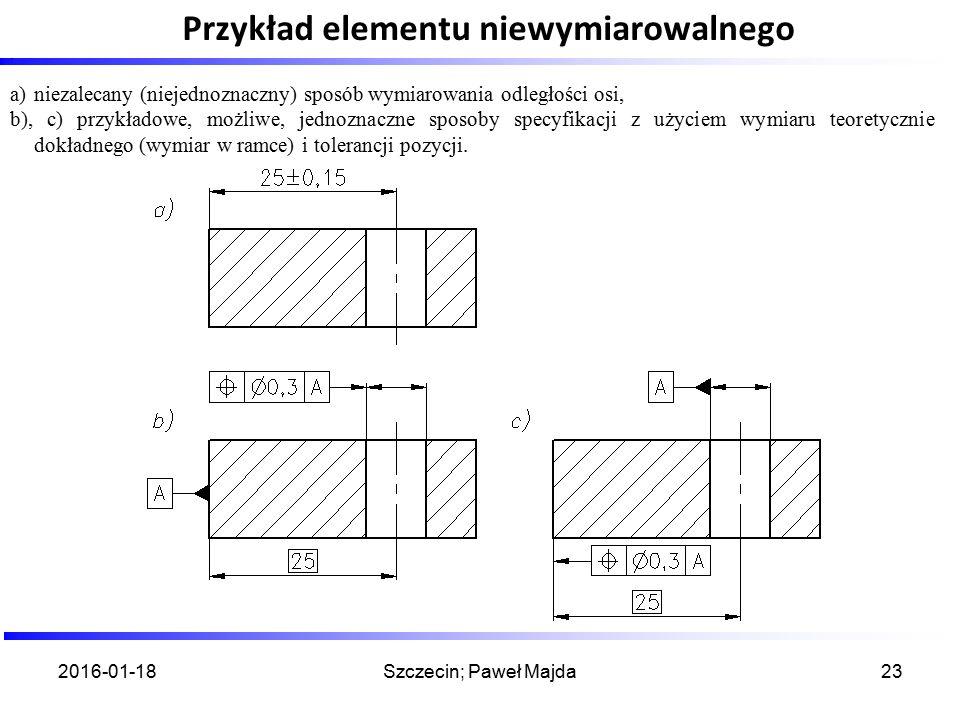 Przykład elementu niewymiarowalnego 2016-01-18Szczecin; Paweł Majda23. a)niezalecany (niejednoznaczny) sposób wymiarowania odległości osi, b), c) przy
