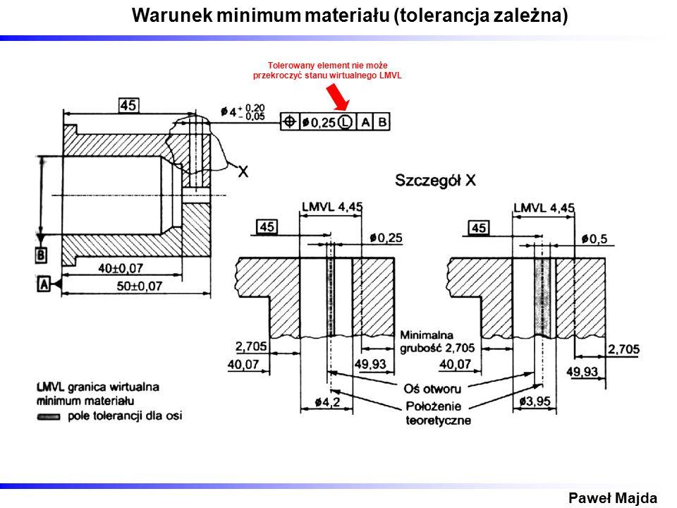 Warunek minimum materiału (tolerancja zależna) Paweł Majda Tolerowany element nie może przekroczyć stanu wirtualnego LMVL