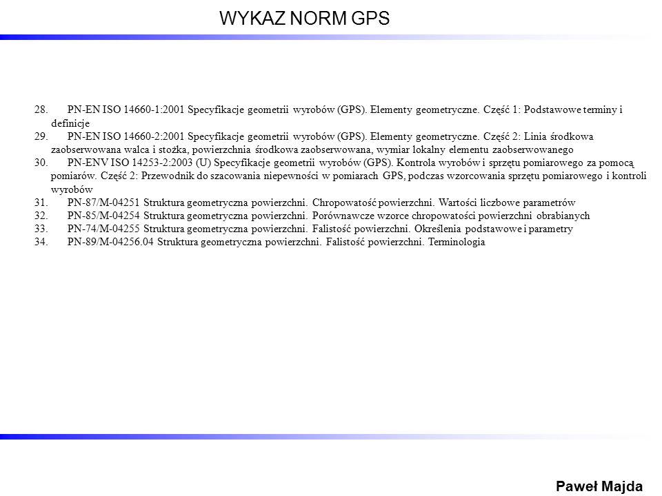 28.PN-EN ISO 14660-1:2001 Specyfikacje geometrii wyrobów (GPS). Elementy geometryczne. Część 1: Podstawowe terminy i definicje 29.PN-EN ISO 14660-2:20