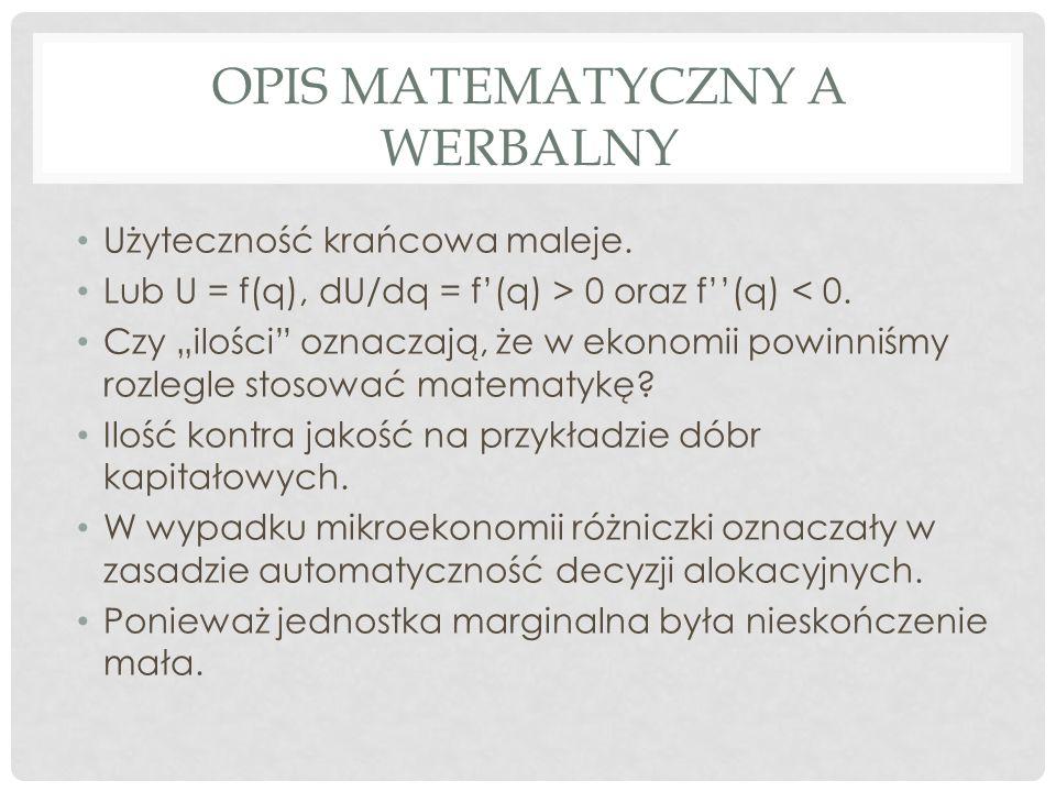 OPIS MATEMATYCZNY A WERBALNY Użyteczność krańcowa maleje.