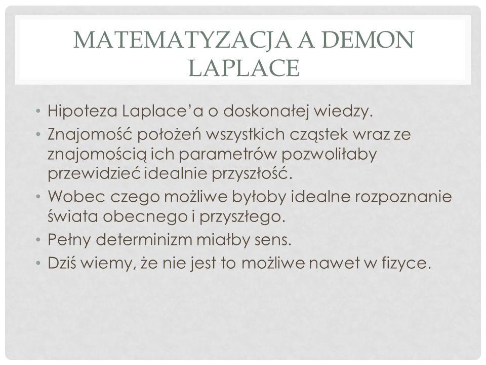 MATEMATYZACJA A DEMON LAPLACE Hipoteza Laplace'a o doskonałej wiedzy.