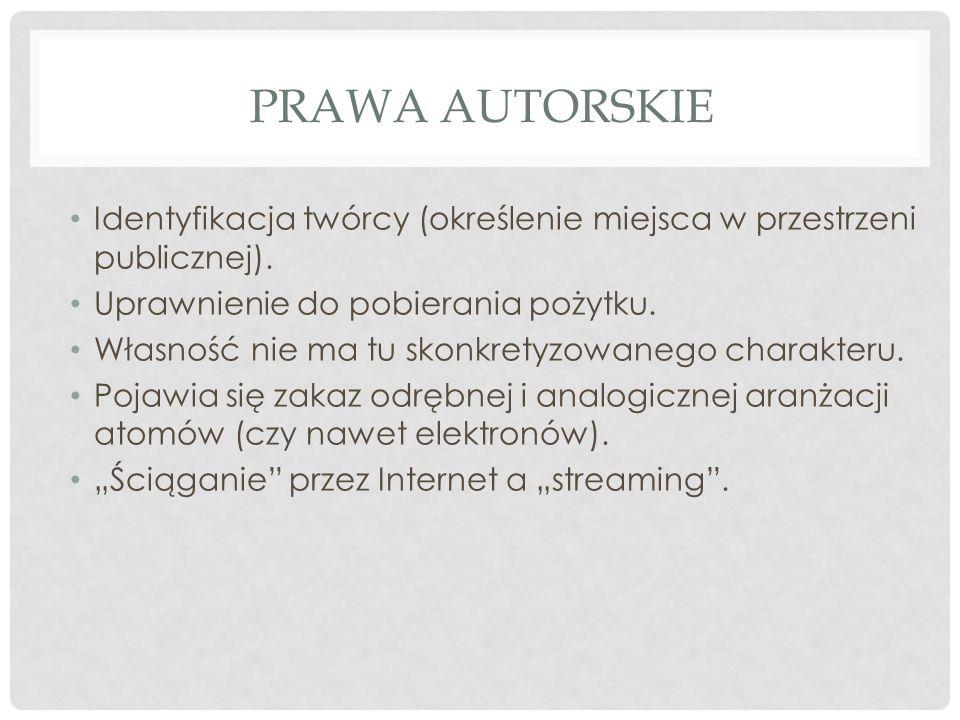 PRAWA AUTORSKIE Identyfikacja twórcy (określenie miejsca w przestrzeni publicznej).
