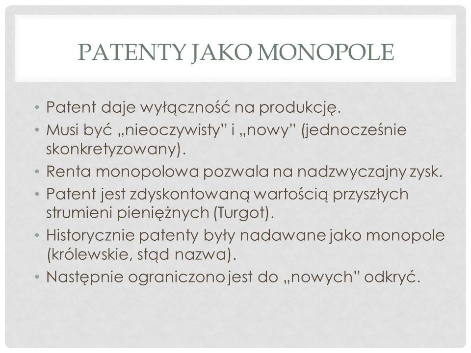 PATENTY JAKO MONOPOLE Patent daje wyłączność na produkcję.