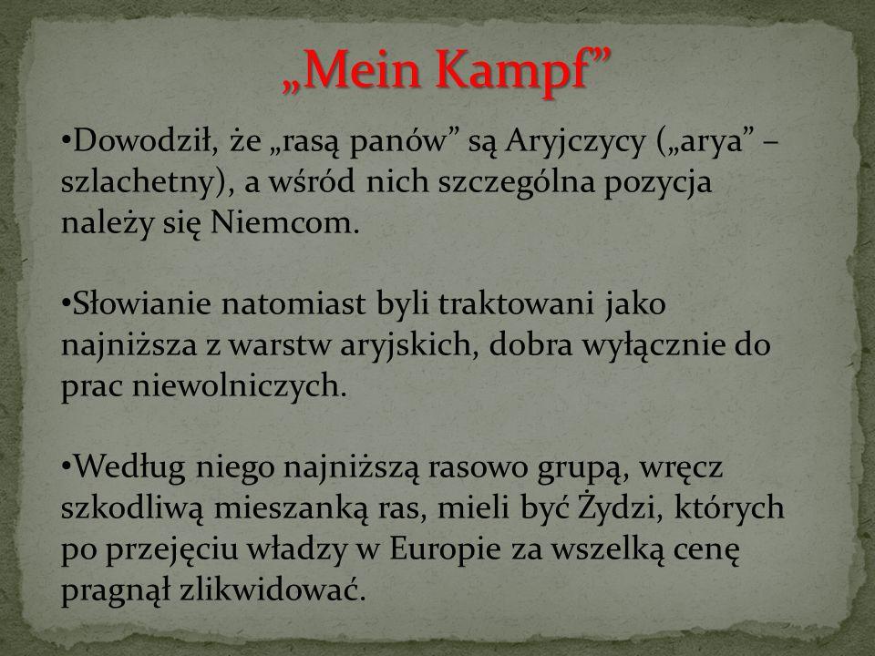 """Dowodził, że """"rasą panów"""" są Aryjczycy (""""arya"""" – szlachetny), a wśród nich szczególna pozycja należy się Niemcom. Słowianie natomiast byli traktowani"""