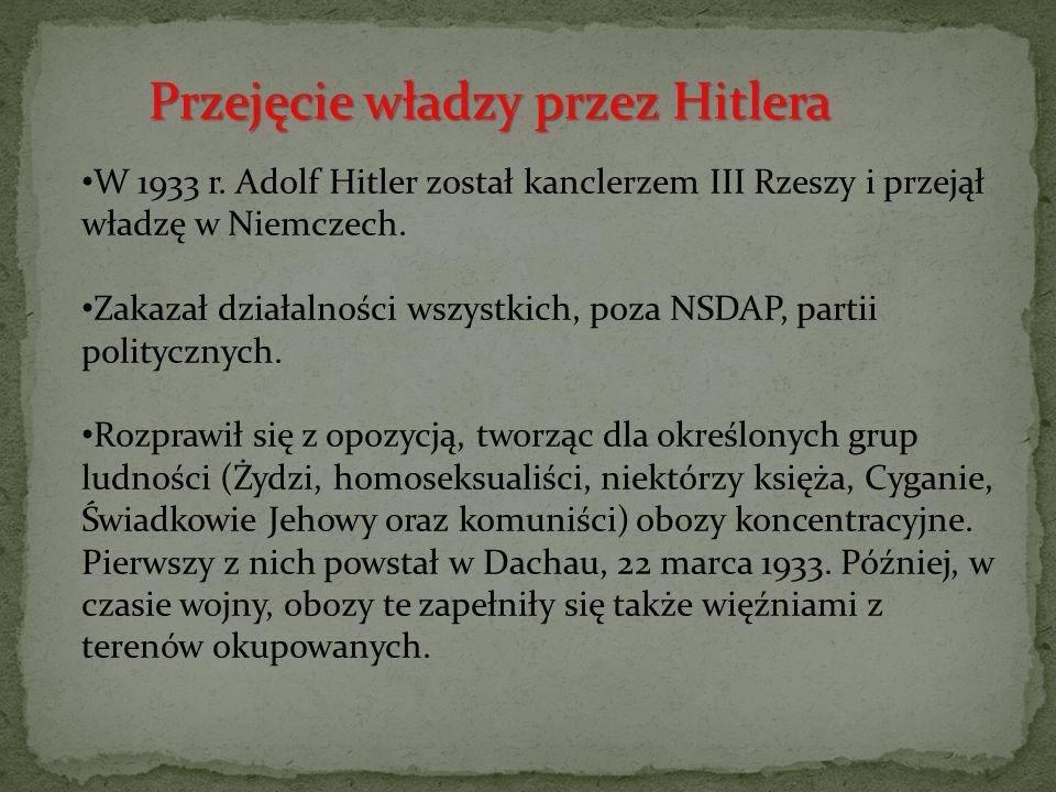 """Rozpoczął politykę zbrojeń i """"pokojowych podbojów – doprowadził do przyłączenia Austrii do Niemiec (Anschluss), zajął Czechosłowację, zmusił Litwę do oddania okręgu Kłajpedy Wprowadził powszechny obowiązek służby wojskowej w nowo utworzonych siłach zbrojnych – Wehrmachcie."""
