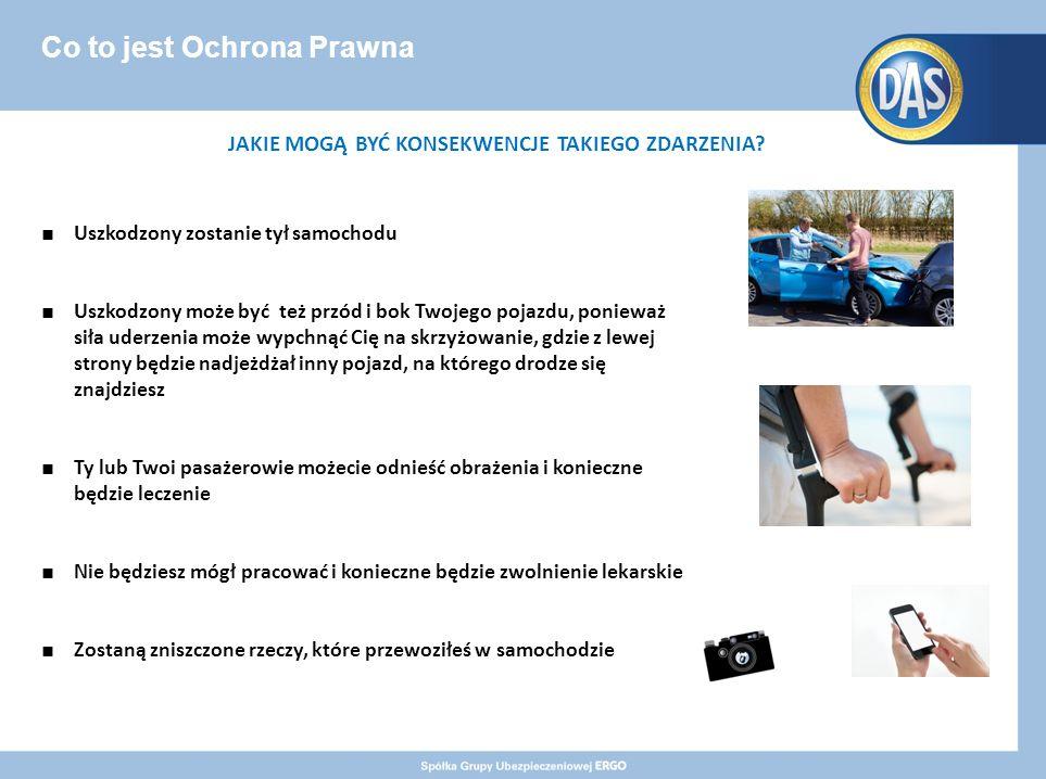 Co to jest Ochrona Prawna ■ Uszkodzony zostanie tył samochodu ■ Uszkodzony może być też przód i bok Twojego pojazdu, ponieważ siła uderzenia może wypchnąć Cię na skrzyżowanie, gdzie z lewej strony będzie nadjeżdżał inny pojazd, na którego drodze się znajdziesz ■ Ty lub Twoi pasażerowie możecie odnieść obrażenia i konieczne będzie leczenie ■ Nie będziesz mógł pracować i konieczne będzie zwolnienie lekarskie ■ Zostaną zniszczone rzeczy, które przewoziłeś w samochodzie JAKIE MOGĄ BYĆ KONSEKWENCJE TAKIEGO ZDARZENIA
