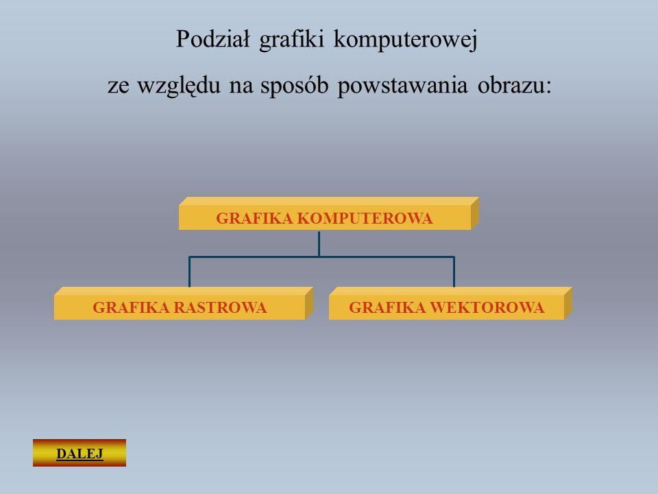 Podział grafiki komputerowej ze względu na sposób powstawania obrazu: GRAFIKA WEKTOROWA GRAFIKA KOMPUTEROWA GRAFIKA RASTROWA