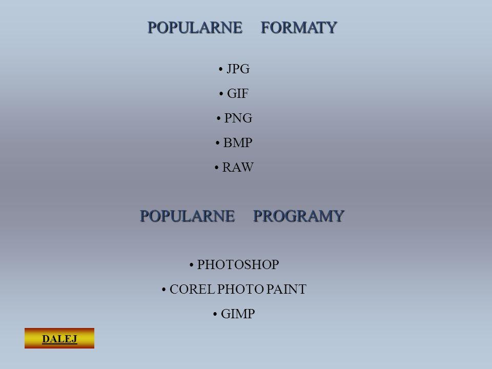 DALEJ POPULARNE FORMATY JPG GIF PNG BMP RAW POPULARNE PROGRAMY PHOTOSHOP COREL PHOTO PAINT GIMP