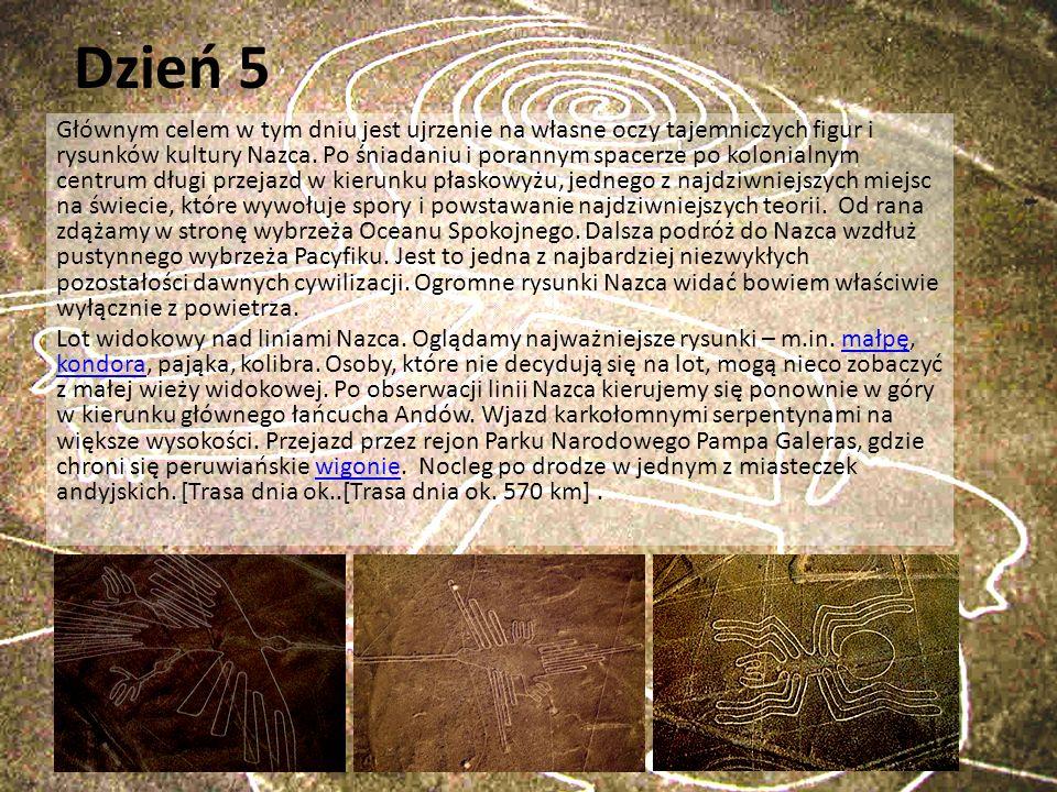 Dzień 5 Głównym celem w tym dniu jest ujrzenie na własne oczy tajemniczych figur i rysunków kultury Nazca. Po śniadaniu i porannym spacerze po kolonia