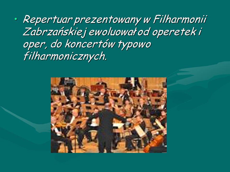 Repertuar prezentowany w Filharmonii Zabrzańskiej ewoluował od operetek i oper, do koncertów typowo filharmonicznych.Repertuar prezentowany w Filharmonii Zabrzańskiej ewoluował od operetek i oper, do koncertów typowo filharmonicznych.