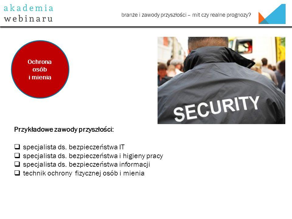 branże i zawody przyszłości – mit czy realne prognozy? Przykładowe zawody przyszłości:  specjalista ds. bezpieczeństwa IT  specjalista ds. bezpiecze