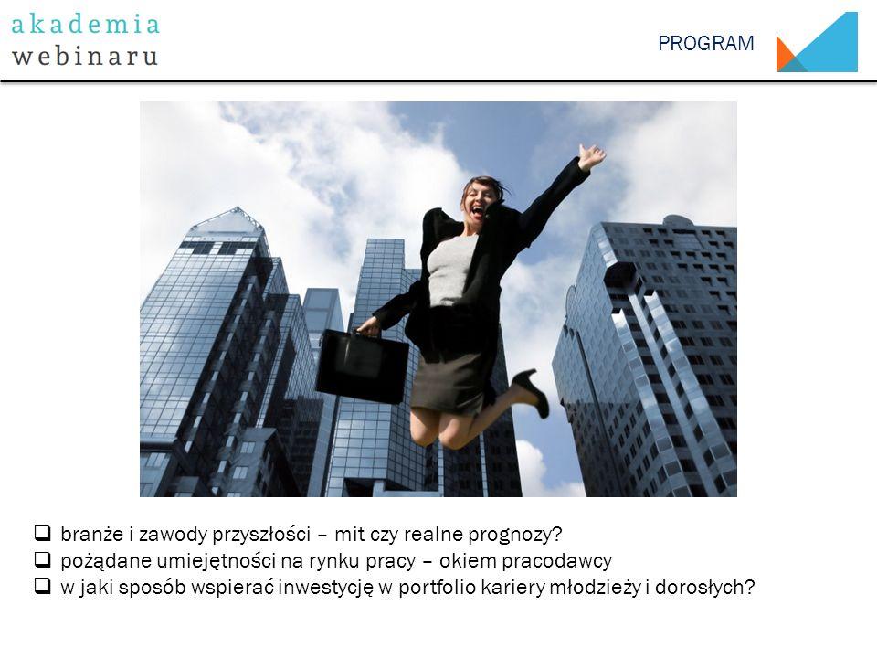 PROGRAM  branże i zawody przyszłości – mit czy realne prognozy?  pożądane umiejętności na rynku pracy – okiem pracodawcy  w jaki sposób wspierać in