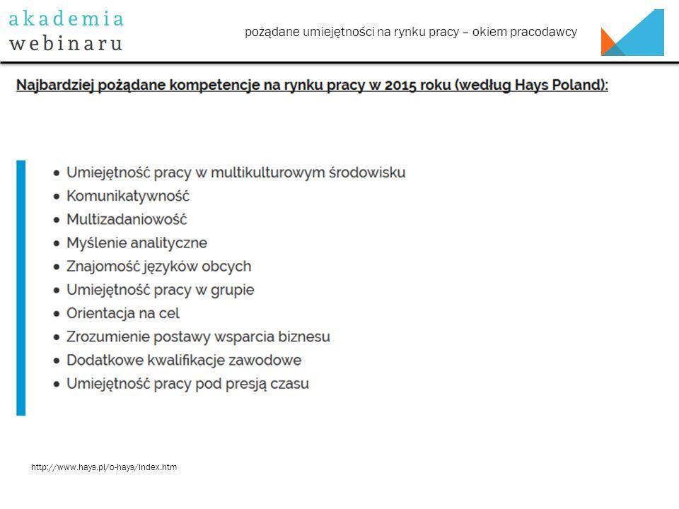 pożądane umiejętności na rynku pracy – okiem pracodawcy http://www.hays.pl/o-hays/index.htm