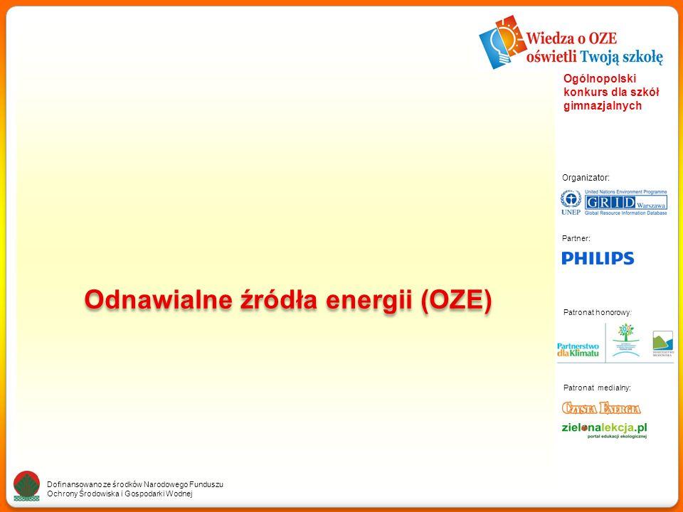 Partner: Organizator: Patronat medialny: Patronat honorowy: Dofinansowano ze środków Narodowego Funduszu Ochrony Środowiska i Gospodarki Wodnej Ogólnopolski konkurs dla szkół gimnazjalnych OZE – Odnawialne źródła energii Definicja Odnawialne źródła energii, czyli energia wiatru, słońca (cieplna, fotowoltaiczna lub skoncentrowana), wodno-elektryczna, pływy morskie, geotermiczna, z biomasy – są alternatywą dla źródeł nieodnawialnych czyli paliw kopalnych.