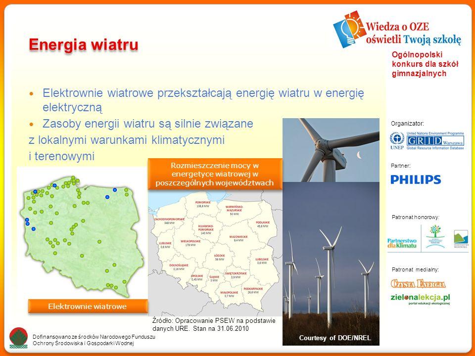 Partner: Organizator: Patronat medialny: Patronat honorowy: Dofinansowano ze środków Narodowego Funduszu Ochrony Środowiska i Gospodarki Wodnej Ogólnopolski konkurs dla szkół gimnazjalnych Energia wiatru Elektrownie wiatrowe przekształcają energię wiatru w energię elektryczną Zasoby energii wiatru są silnie związane z lokalnymi warunkami klimatycznymi i terenowymi Courtesy of DOE/NREL Źródło: Opracowanie PSEW na podstawie danych URE.
