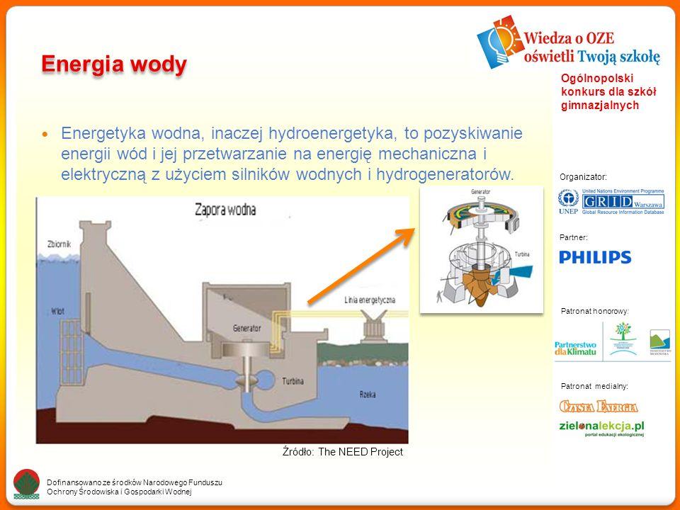 Partner: Organizator: Patronat medialny: Patronat honorowy: Dofinansowano ze środków Narodowego Funduszu Ochrony Środowiska i Gospodarki Wodnej Ogólnopolski konkurs dla szkół gimnazjalnych Energia wody Energetyka wodna, inaczej hydroenergetyka, to pozyskiwanie energii wód i jej przetwarzanie na energię mechaniczna i elektryczną z użyciem silników wodnych i hydrogeneratorów.