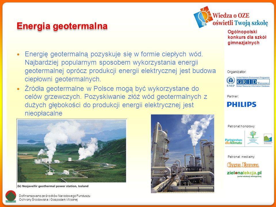 Partner: Organizator: Patronat medialny: Patronat honorowy: Dofinansowano ze środków Narodowego Funduszu Ochrony Środowiska i Gospodarki Wodnej Ogólnopolski konkurs dla szkół gimnazjalnych Energia geotermalna Energię geotermalną pozyskuje się w formie ciepłych wód.