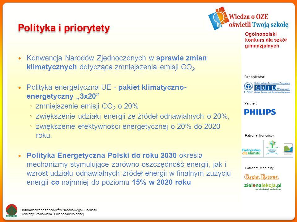 """Partner: Organizator: Patronat medialny: Patronat honorowy: Dofinansowano ze środków Narodowego Funduszu Ochrony Środowiska i Gospodarki Wodnej Ogólnopolski konkurs dla szkół gimnazjalnych Polityka i priorytety Konwencja Narodów Zjednoczonych w sprawie zmian klimatycznych dotycząca zmniejszenia emisji CO 2 Polityka energetyczna UE - pakiet klimatyczno- energetyczny """"3x20 ◦ zmniejszenie emisji CO 2 o 20% ◦ zwiększenie udziału energii ze źródeł odnawialnych o 20%, ◦ zwiększenie efektywności energetycznej o 20% do 2020 roku."""