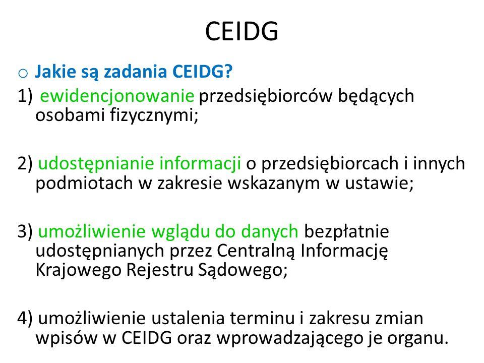 CEIDG o Jakie są zadania CEIDG.