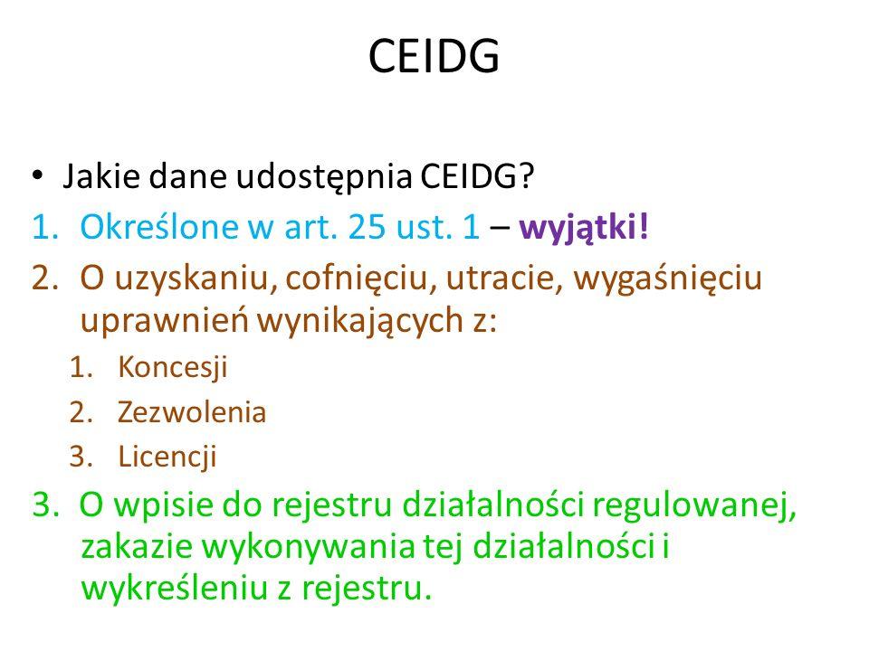 CEIDG Jakie dane udostępnia CEIDG? 1.Określone w art. 25 ust. 1 – wyjątki! 2.O uzyskaniu, cofnięciu, utracie, wygaśnięciu uprawnień wynikających z: 1.