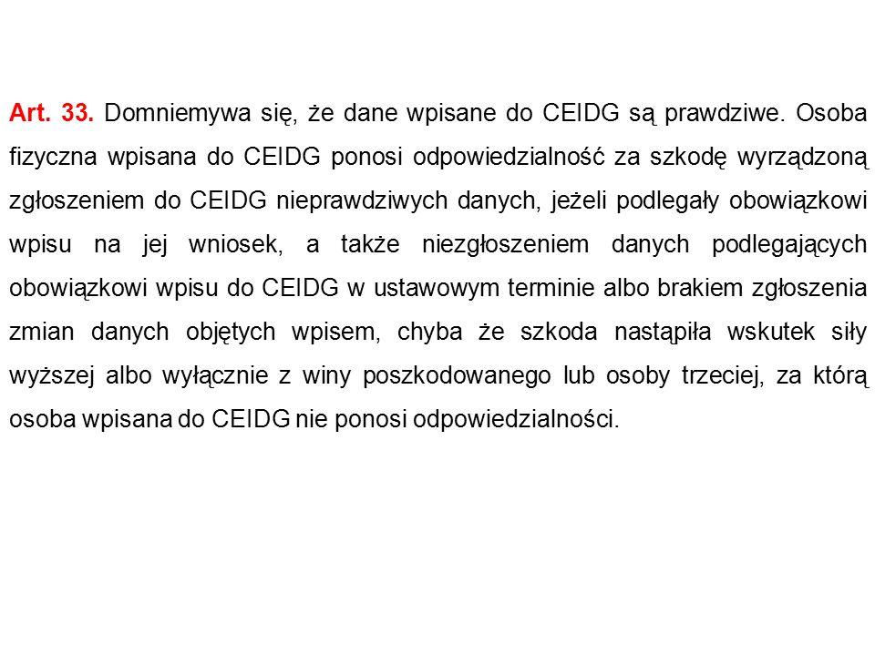 Art.33. Domniemywa się, że dane wpisane do CEIDG są prawdziwe.