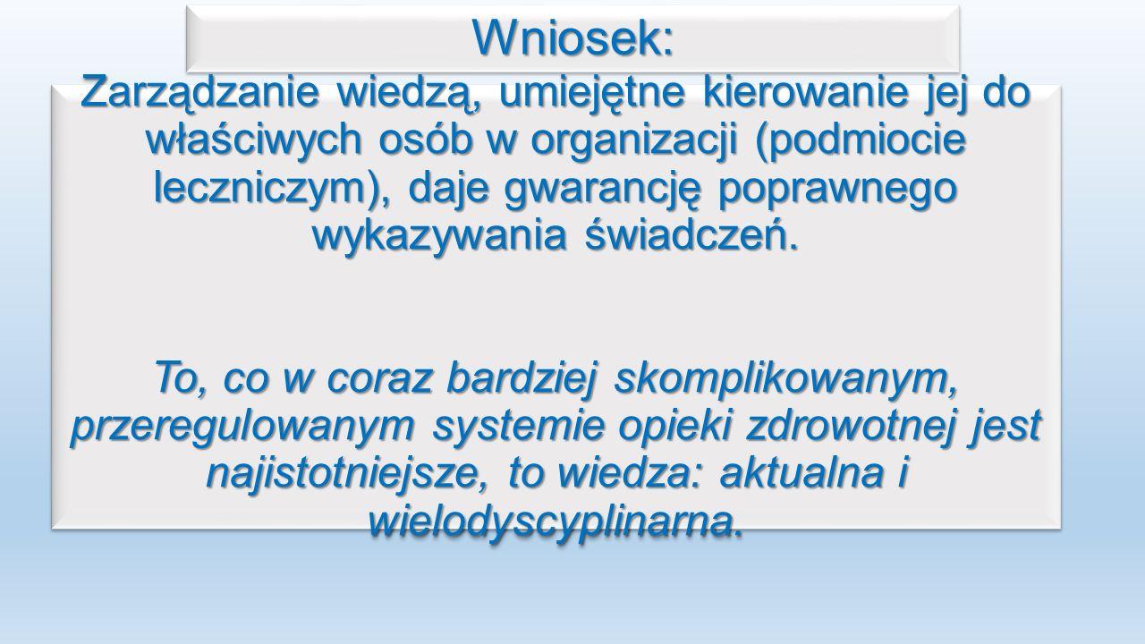 Wniosek:Wniosek: Zarządzanie wiedzą, umiejętne kierowanie jej do właściwych osób w organizacji (podmiocie leczniczym), daje gwarancję poprawnego wykazywania świadczeń.