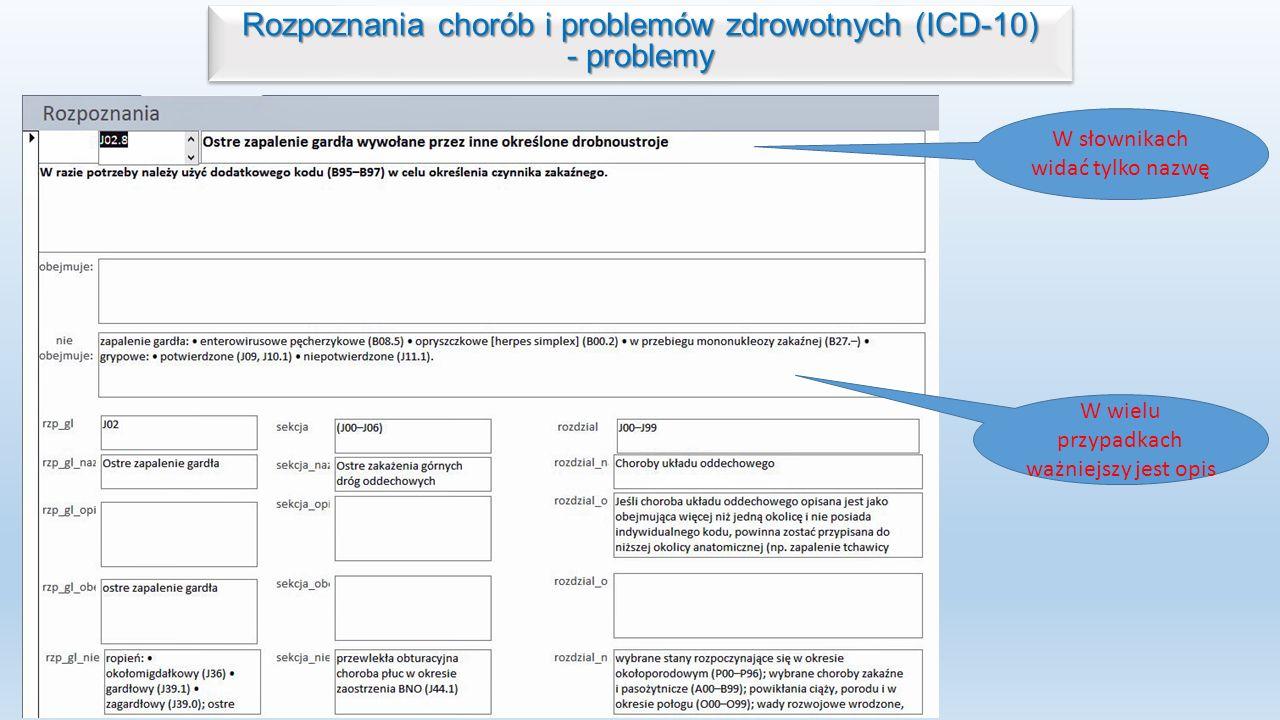 Rozpoznania chorób i problemów zdrowotnych (ICD-10) - problemy Rozpoznania chorób i problemów zdrowotnych (ICD-10) - problemy W słownikach widać tylko nazwę W wielu przypadkach ważniejszy jest opis
