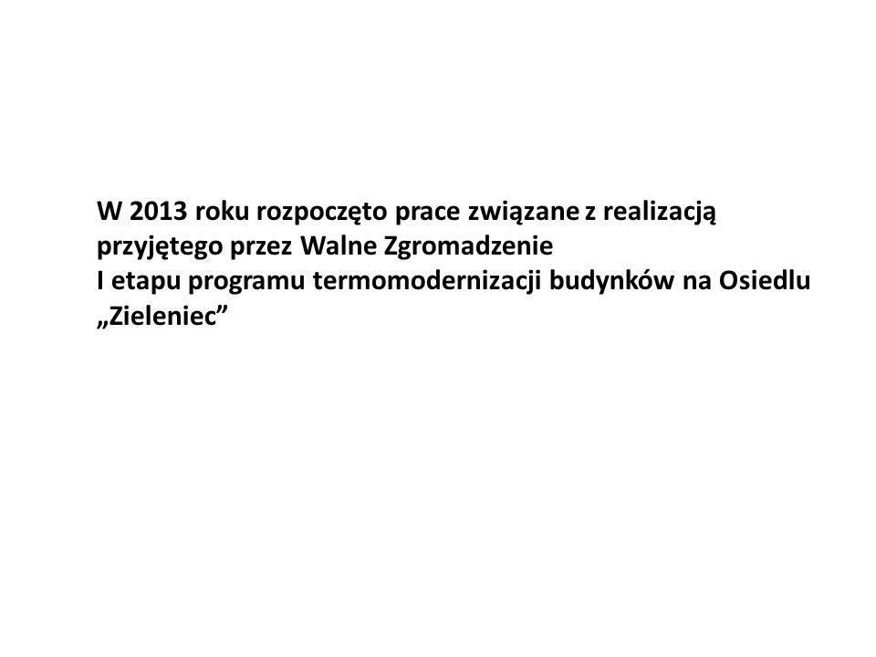 """W 2013 roku rozpoczęto prace związane z realizacją przyjętego przez Walne Zgromadzenie I etapu programu termomodernizacji budynków na Osiedlu """"Zieleniec"""