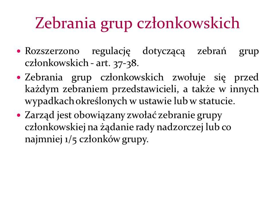 Rozszerzono regulację dotyczącą zebrań grup członkowskich - art.