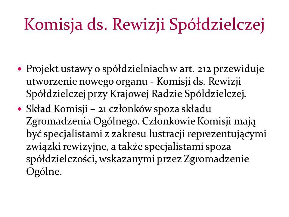 Projekt ustawy o spółdzielniach w art. 212 przewiduje utworzenie nowego organu - Komisji ds.
