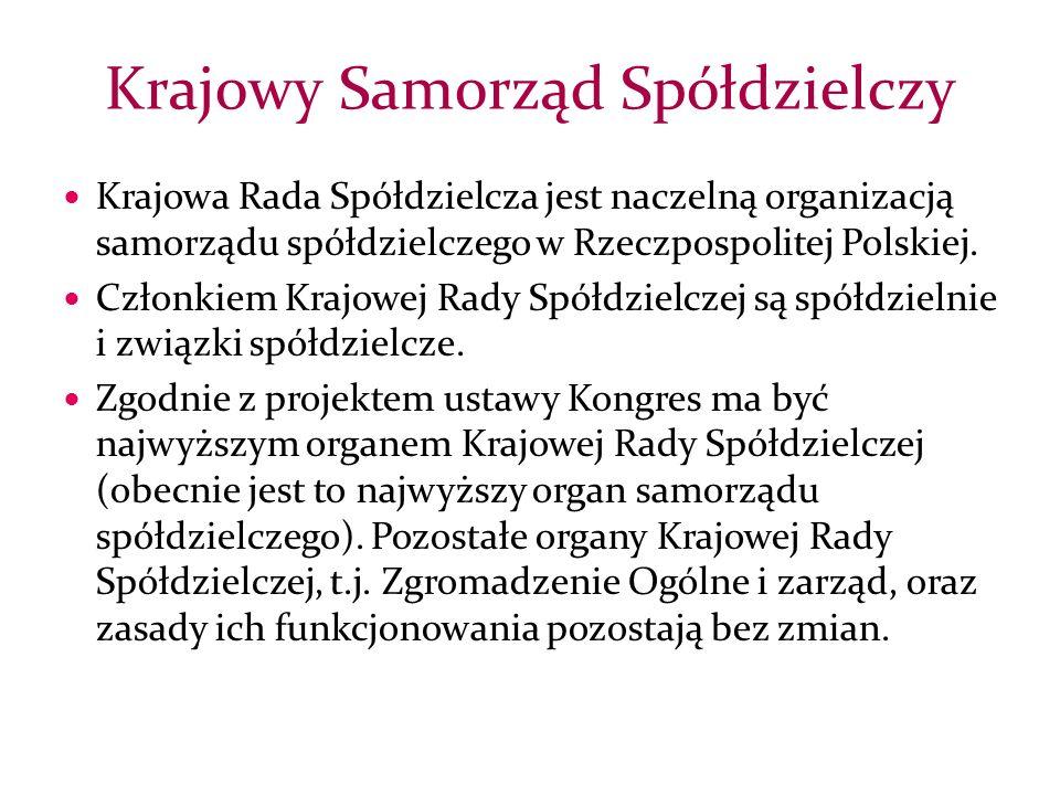 Krajowa Rada Spółdzielcza jest naczelną organizacją samorządu spółdzielczego w Rzeczpospolitej Polskiej.