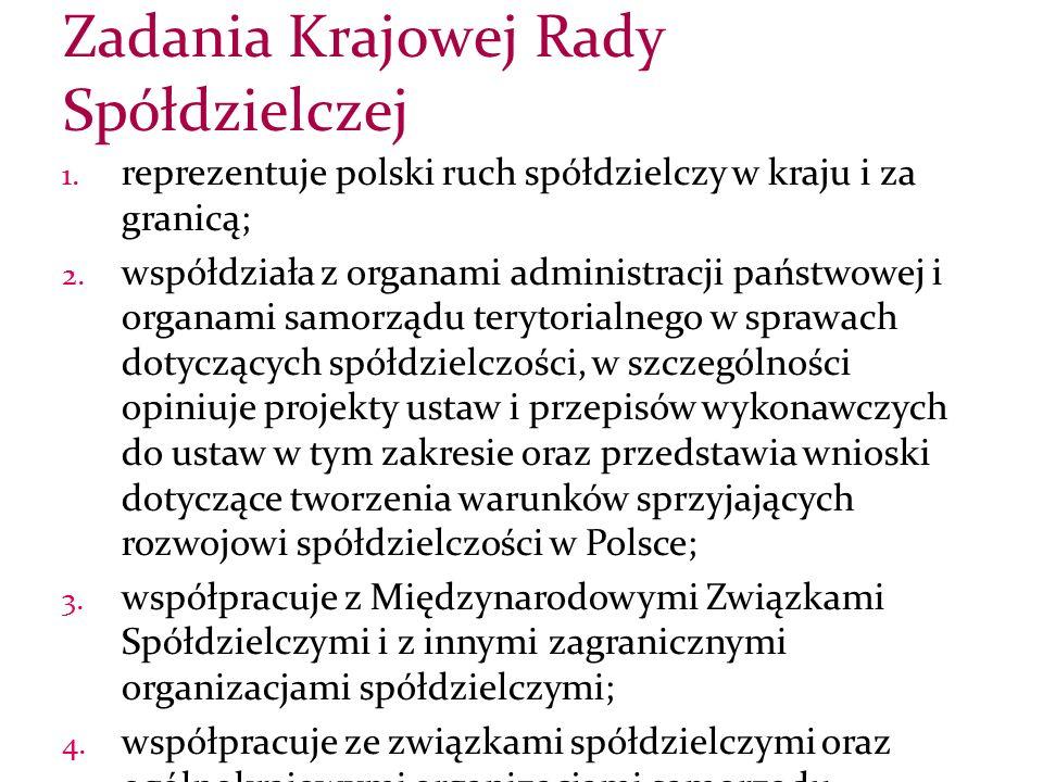 1. reprezentuje polski ruch spółdzielczy w kraju i za granicą; 2.