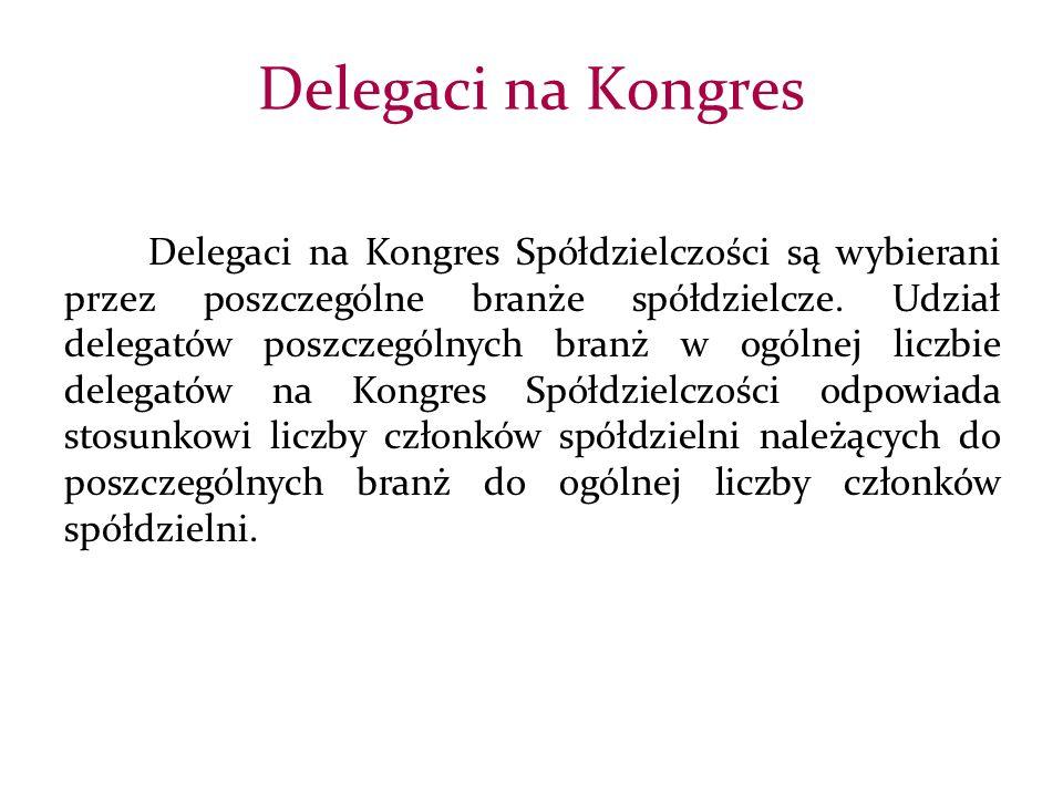 Delegaci na Kongres Spółdzielczości są wybierani przez poszczególne branże spółdzielcze.