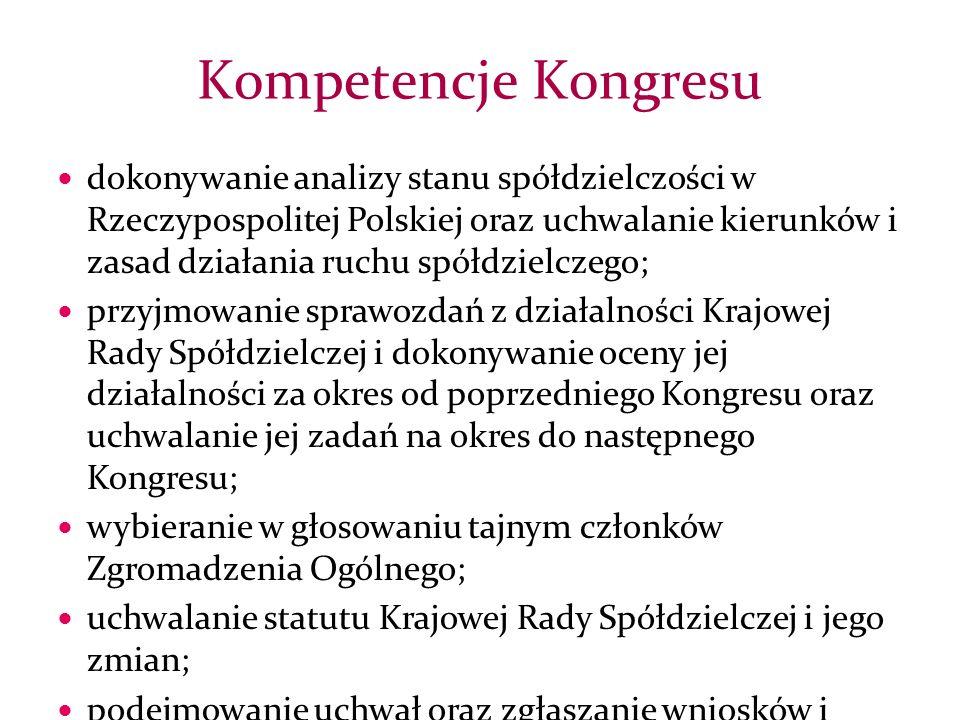 dokonywanie analizy stanu spółdzielczości w Rzeczypospolitej Polskiej oraz uchwalanie kierunków i zasad działania ruchu spółdzielczego; przyjmowanie sprawozdań z działalności Krajowej Rady Spółdzielczej i dokonywanie oceny jej działalności za okres od poprzedniego Kongresu oraz uchwalanie jej zadań na okres do następnego Kongresu; wybieranie w głosowaniu tajnym członków Zgromadzenia Ogólnego; uchwalanie statutu Krajowej Rady Spółdzielczej i jego zmian; podejmowanie uchwał oraz zgłaszanie wniosków i opinii w sprawach dotyczących ruchu spółdzielczego do organów administracji państwowej oraz międzynarodowych organizacji spółdzielczych.